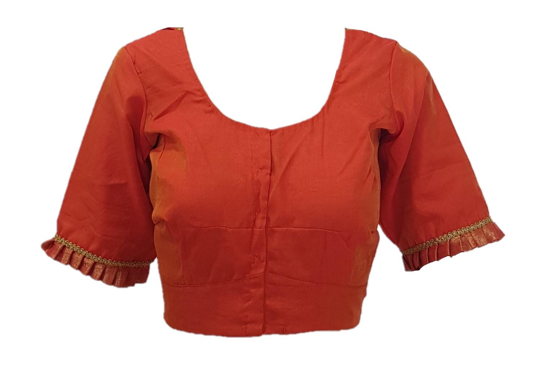 Mercerised Cotton Fabric Neck Frills Readymade Saree Blouse Orange Size XL : Picture