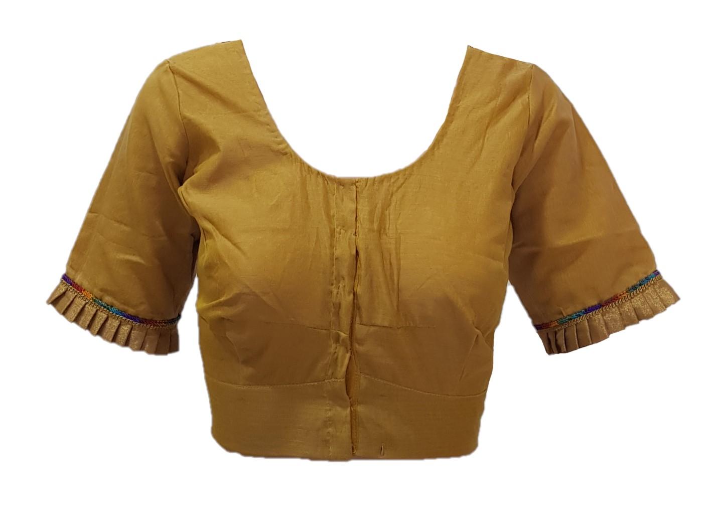 Mercerised Cotton Fabric Neck Frills Readymade Saree Blouse Khaki Size XL : Picture