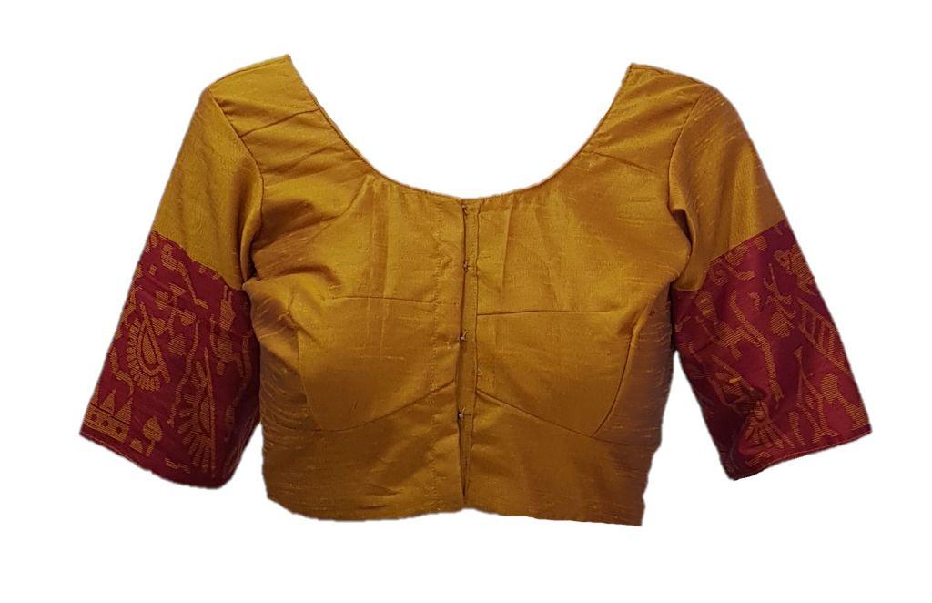 Ghicha Cotton Silk Fabric Readymade Saree Blouse GoldYellow Pink Size Medium : Picture