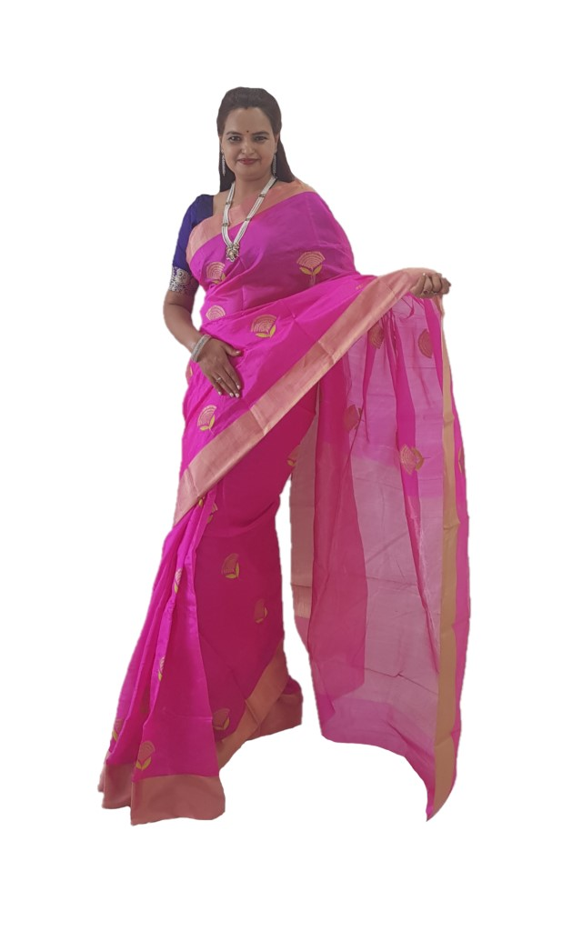 HandWoven Chanderi Pure Silk Butti Work Saree Bright Pink : Picture