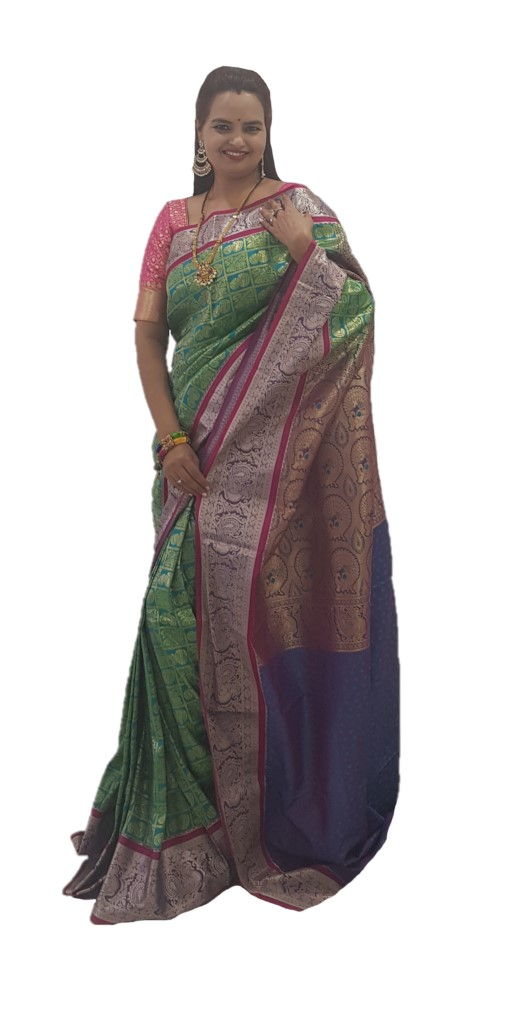 Soft Silk Saree with Zari Work of Musical Instruments RamaGreen : Picture