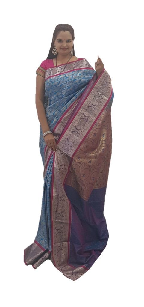 Soft Silk Saree with Zari Work of Musical Instruments Blue Pink : Picture