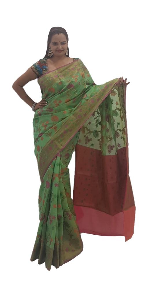 Banarasi Loom Saree with Floral Meenakari Work Pista Green : Picture
