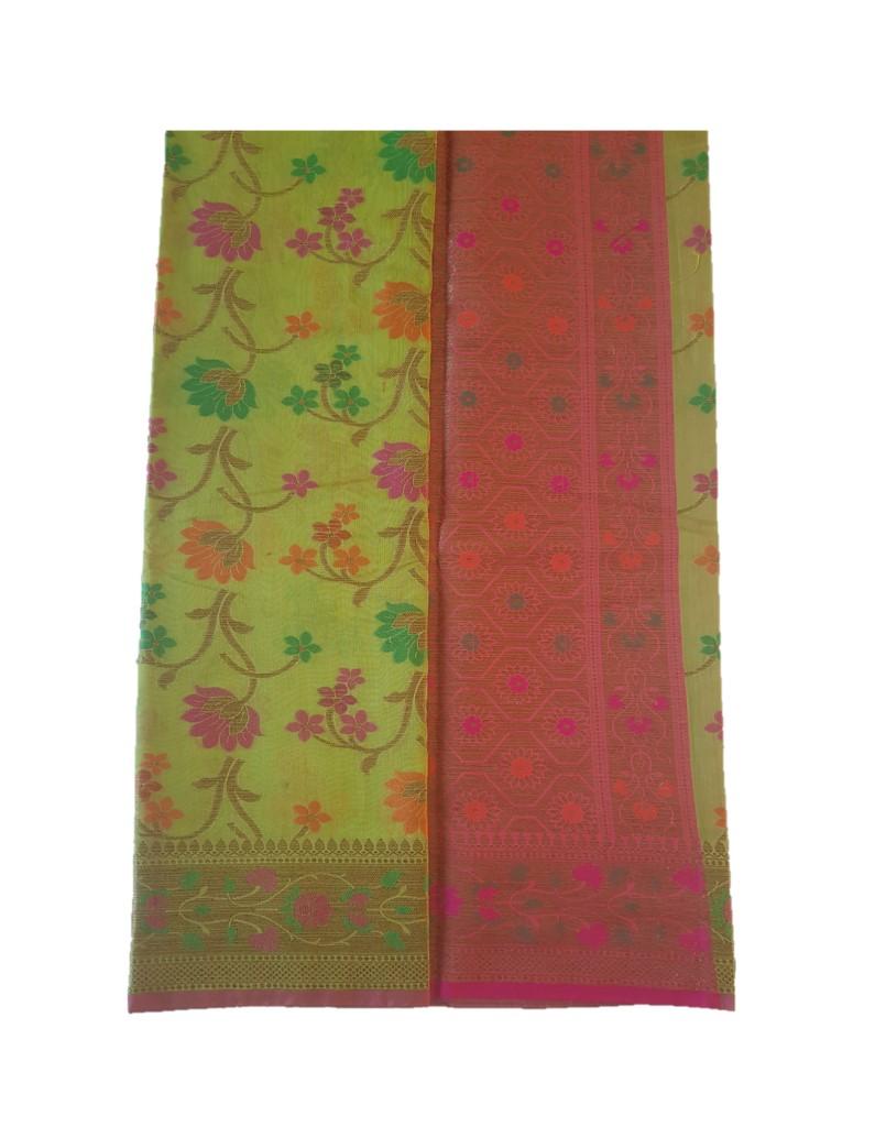 Banarasi Loom Saree with Floral Meenakari Work Light Mehendi Green : Picture