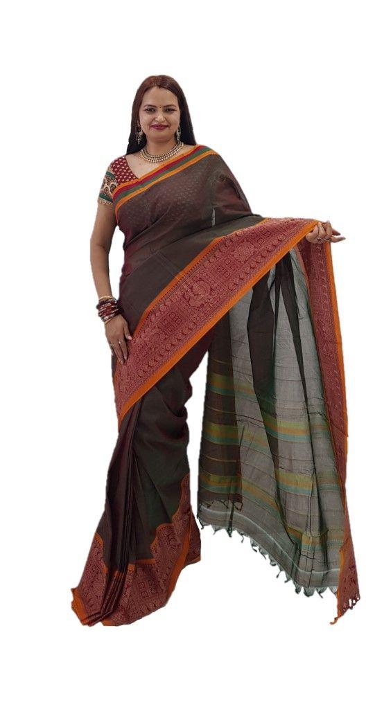 Narayanpet Handloom Pure Cotton Big Jacguard Border Saree DualShade Green Red : Details