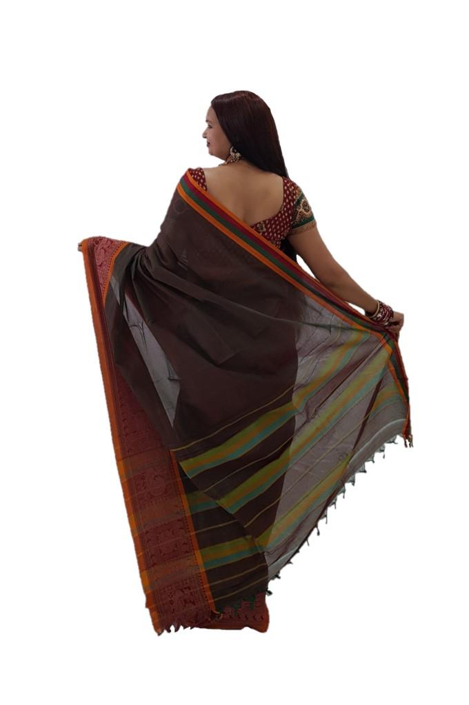 Narayanpet Handloom Pure Cotton Big Jacguard Border Saree DualShade Green Red : Picture