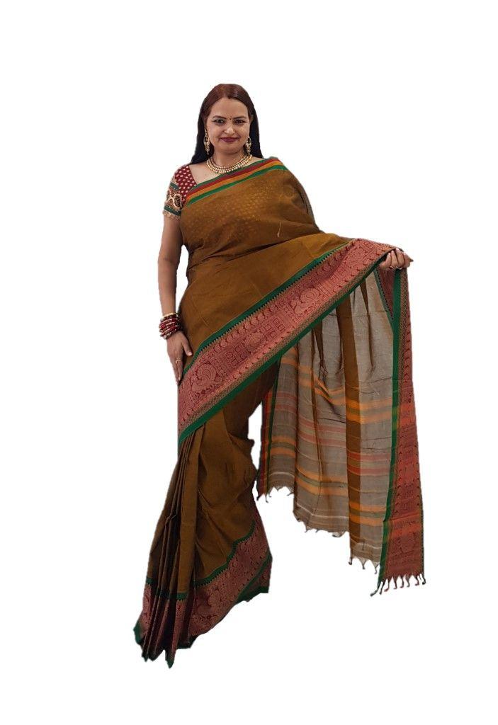 Narayanpet Handloom Pure Cotton Big Jacguard Border Saree Earth Brown : Details