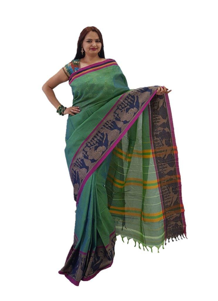 Narayanpet Handloom Pure Cotton Big Jacguard Border Saree Rama Green : Details