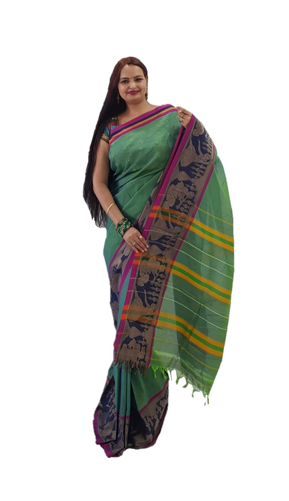 Narayanpet Handloom Pure Cotton Big Jacguard Border Saree Rama Green : Picture