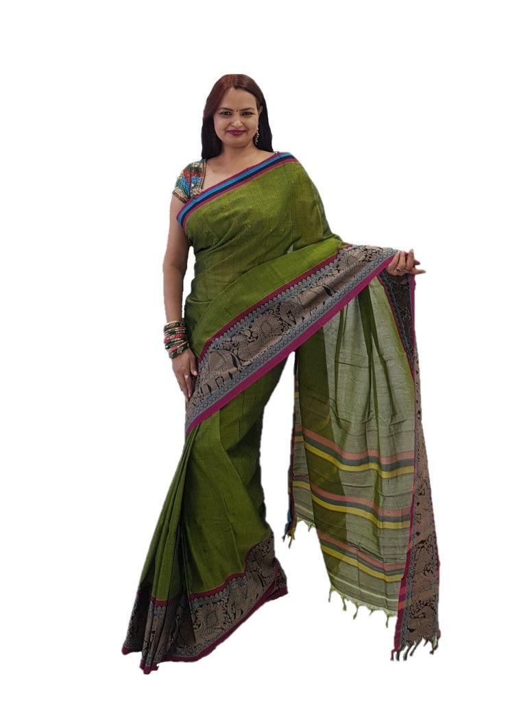 Narayanpet Handloom Pure Cotton Big Jacguard Border Saree Olive Green : Details