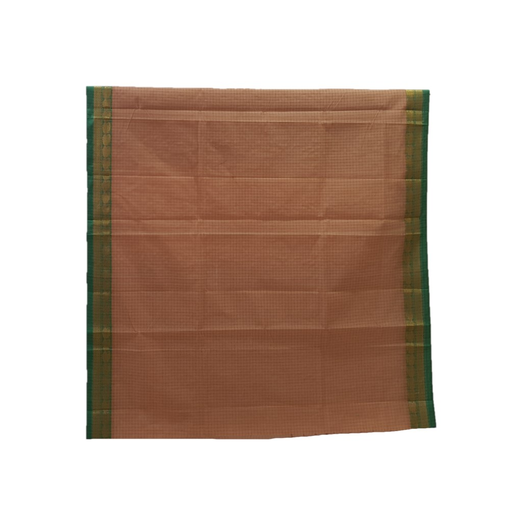 Narayanpet Handloom Pure Cotton Zari Checks Saree Light Coffee Green : Picture