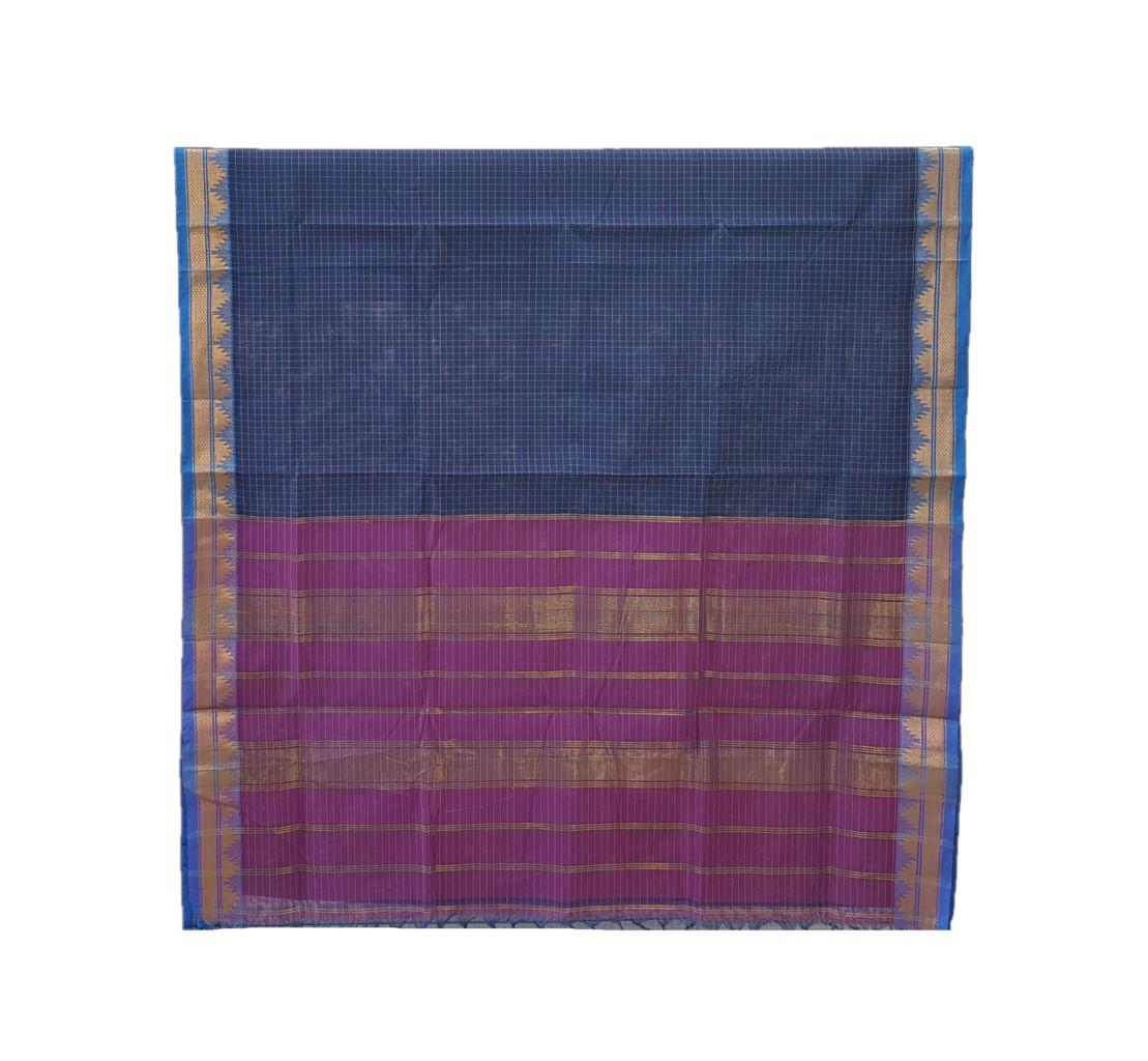 Narayanpet Handloom Pure Cotton Zari Checks Saree NavyBlue : Picture