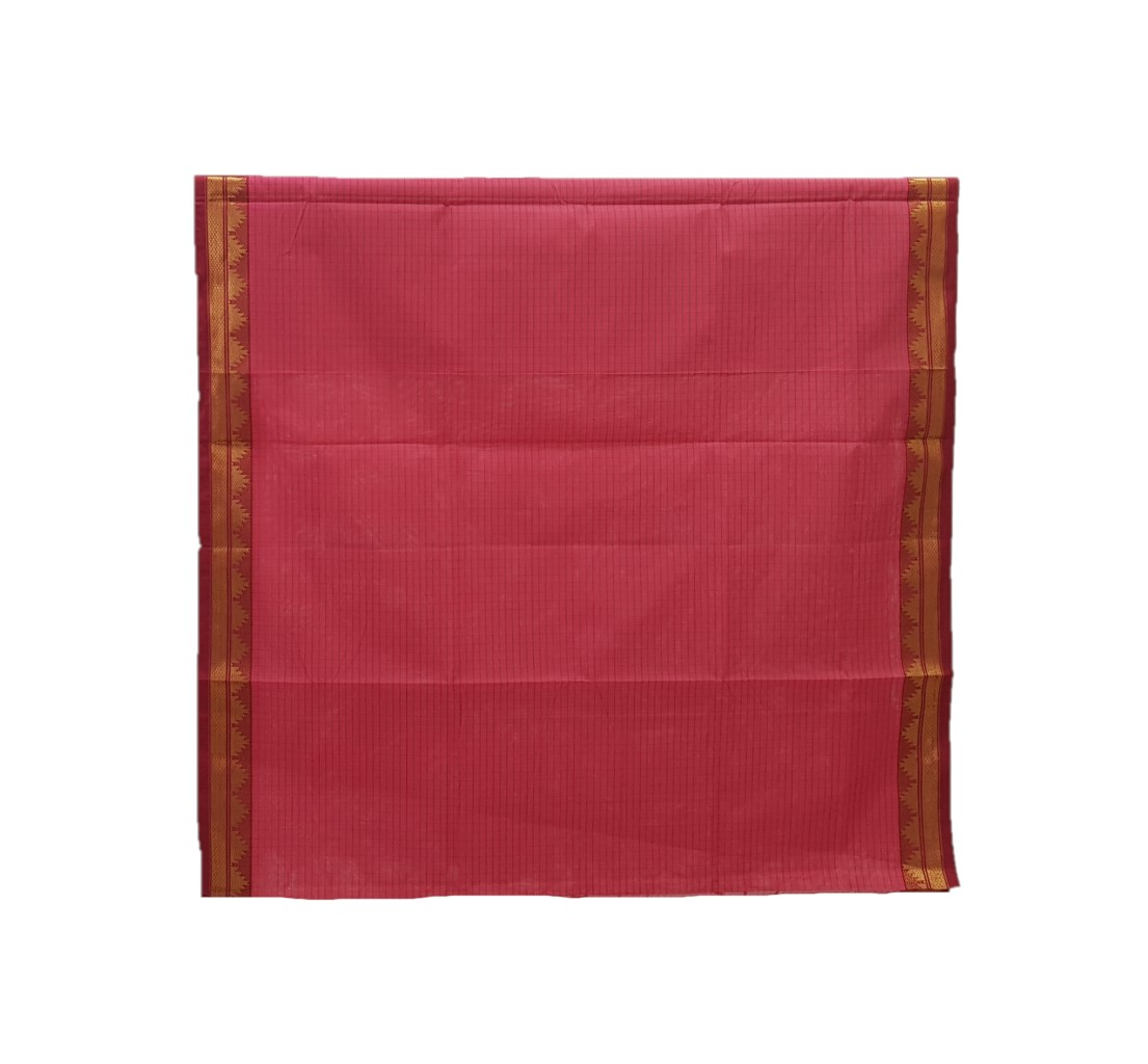 Narayanpet Handloom Pure Cotton Zari Checks Saree AboliPink Red : Picture