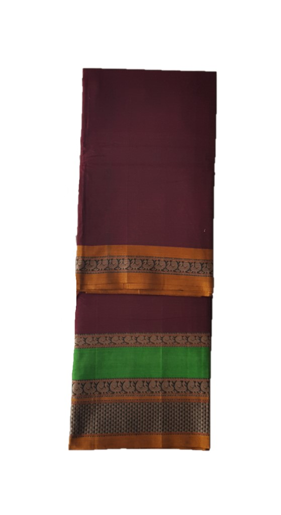 Narayanpet Handloom Pure Cotton Double Peacock Border Saree Maroon : Picture