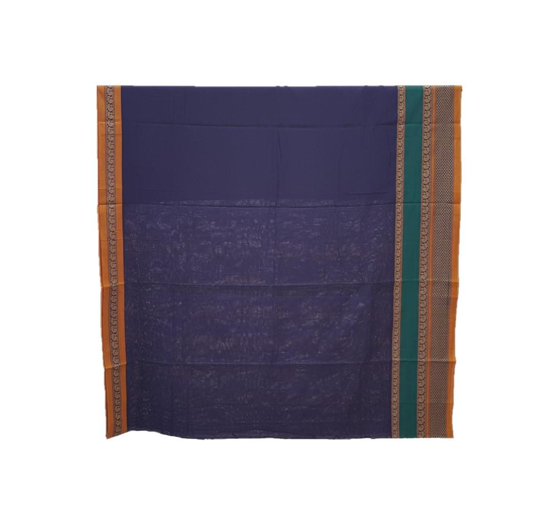 Narayanpet Handloom Pure Cotton Double Peacock Border Saree Violet : Picture