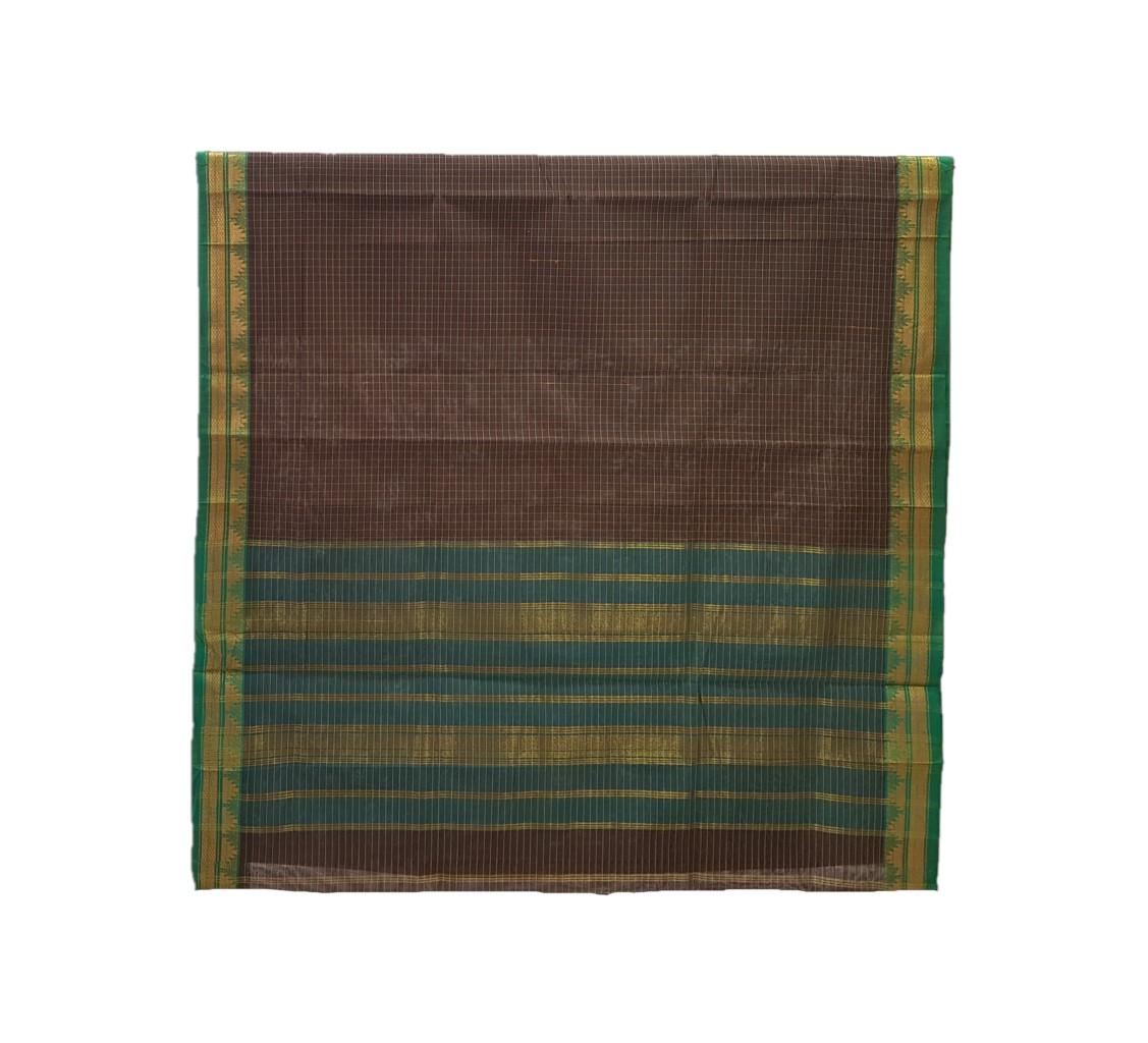 Narayanpet Handloom Pure Cotton Zari Checks Saree ChocoBrown Green : Picture