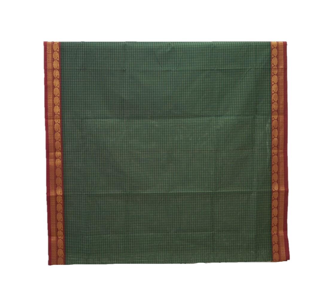 Narayanpet Handloom Pure Cotton Zari Checks Saree DarkGreen Red : Picture
