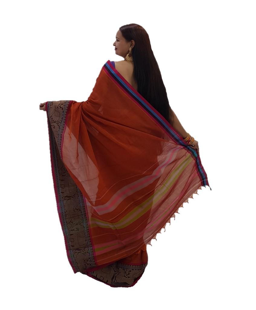 Narayanpet Handloom Pure Cotton Big Jacguard Border Saree Deep Orange : Picture
