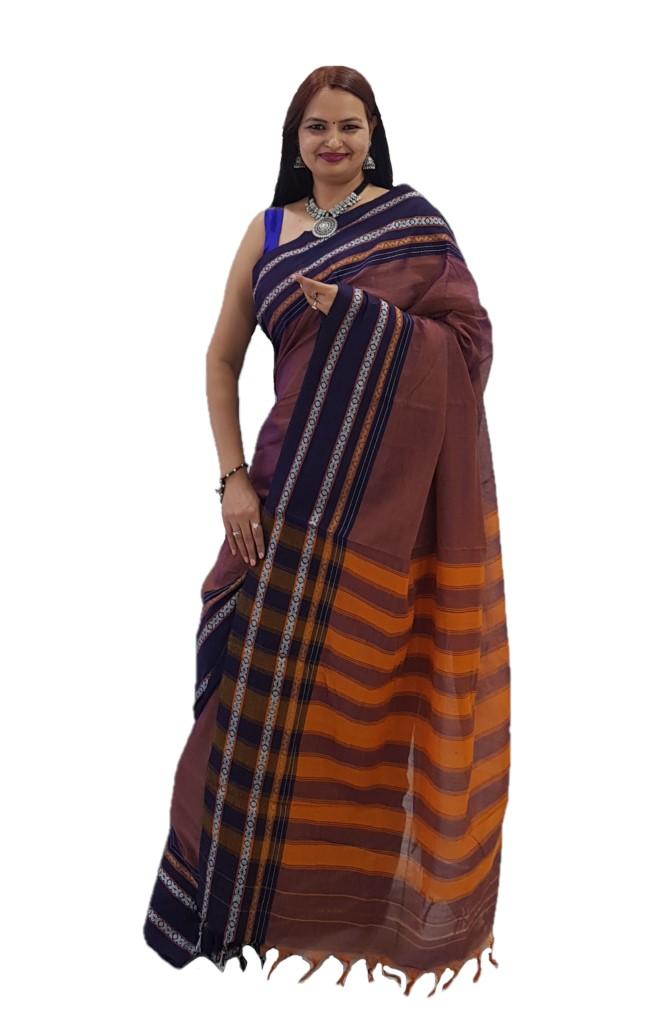 Narayanpet Handloom Pure Cotton Khun Border Saree DualShade Purple Brown : Picture