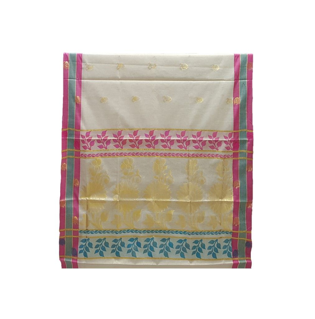 Kerala Kasavu Tissue Saree with Jari Work Coloured Border OffWhite Gold Pink : Picture