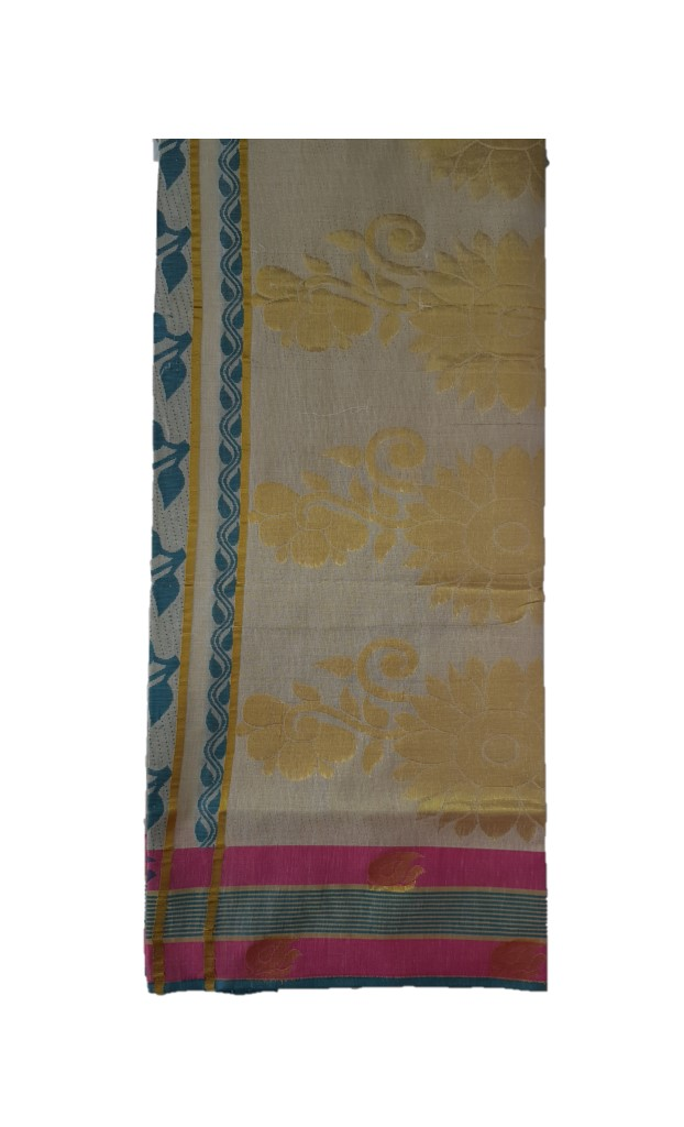 Kerala Kasavu Tissue Saree with Jari Work Coloured Border OffWhite Gold Pink RamaGreen : Picture