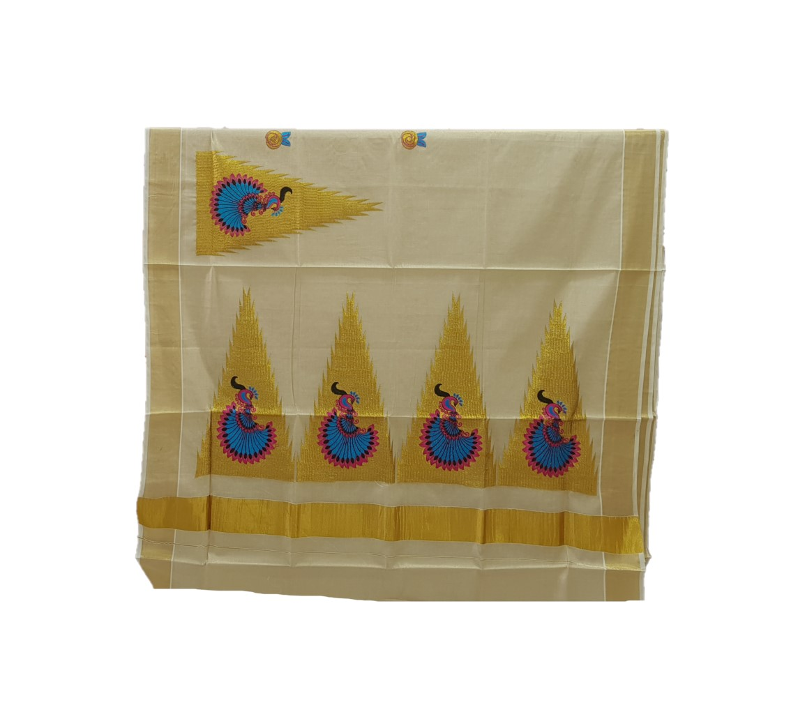 Kerala Kasavu Tissue Saree with Temple Border and Peacock Thread Embroidery Offwhite Gold PinkBlue : Picture