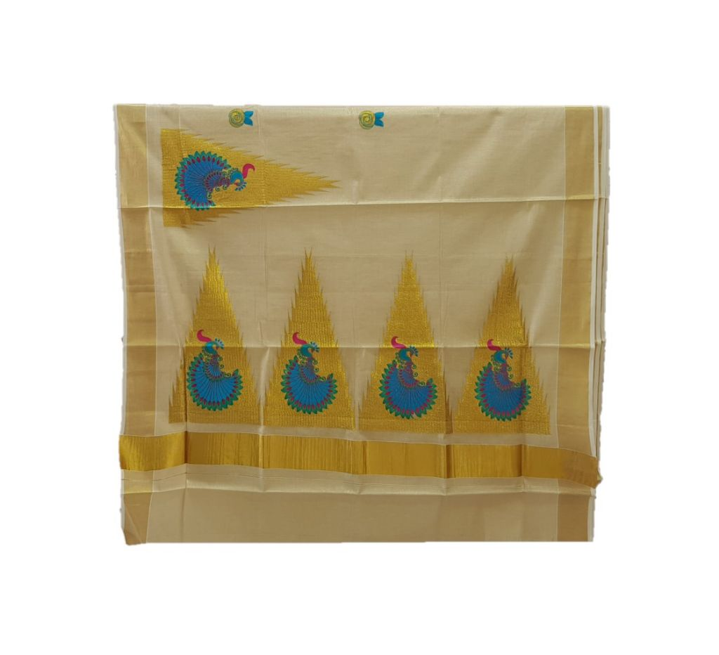 Kerala Kasavu Tissue Saree with Temple Border and Peacock Thread Embroidery Offwhite Gold RamaGreenBlue : Details