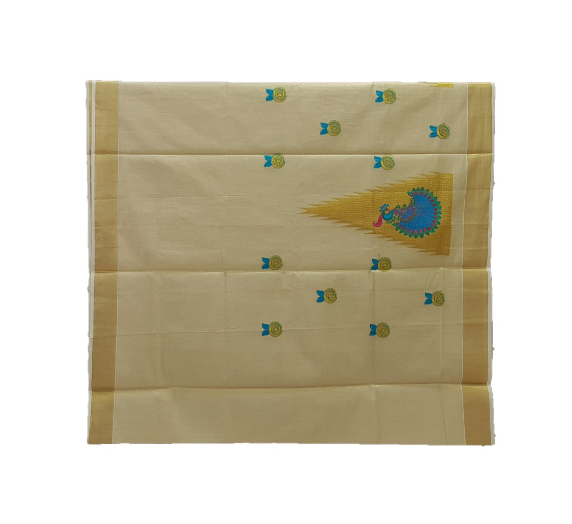 Kerala Kasavu Tissue Saree with Temple Border and Peacock Thread Embroidery Offwhite Gold RamaGreenBlue : Picture