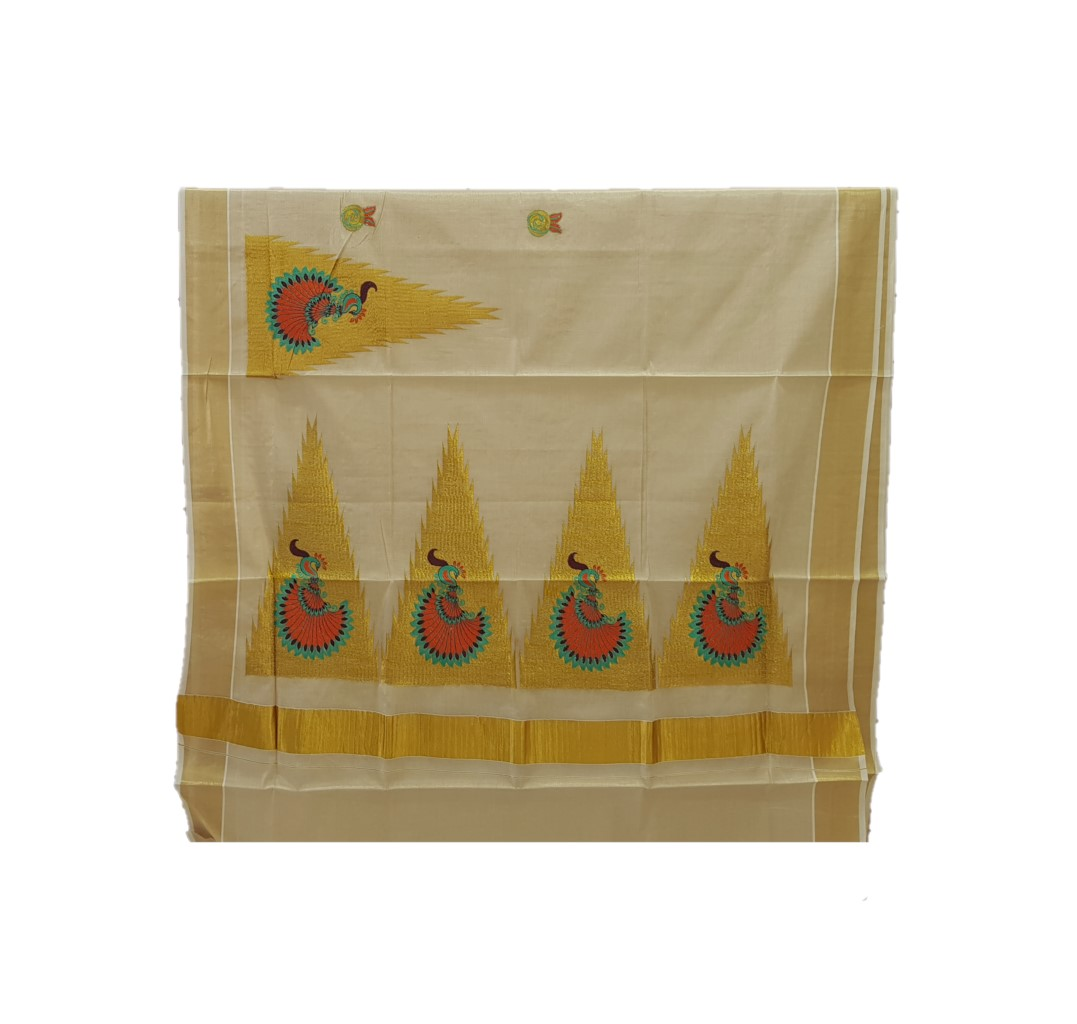Kerala Kasavu Tissue Saree with Temple Border and Peacock Thread Embroidery Offwhite Gold RamaGreenOrange : Picture