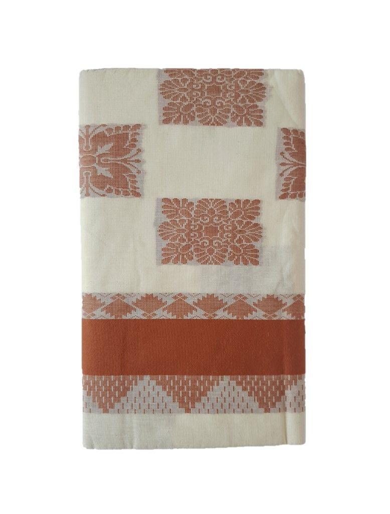 Kerala Kasavu Cotton Saree with Colour Border Mango Peacock Motifs LightBrown : Details