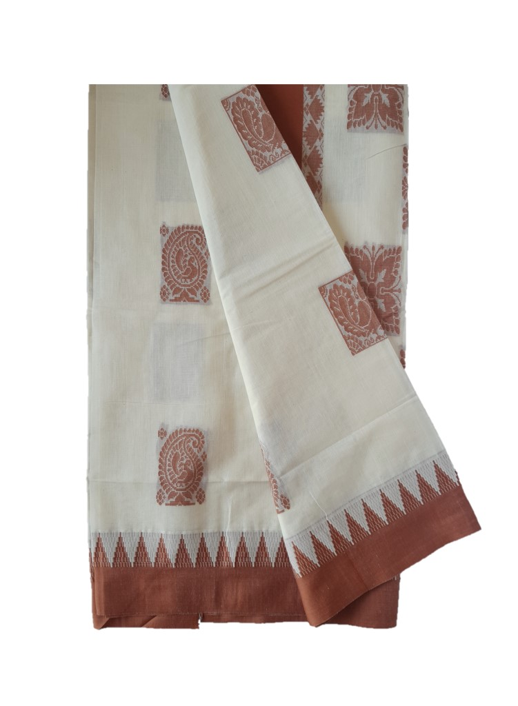 Kerala Kasavu Cotton Saree with Colour Border Mango Peacock Motifs LightBrown : Picture