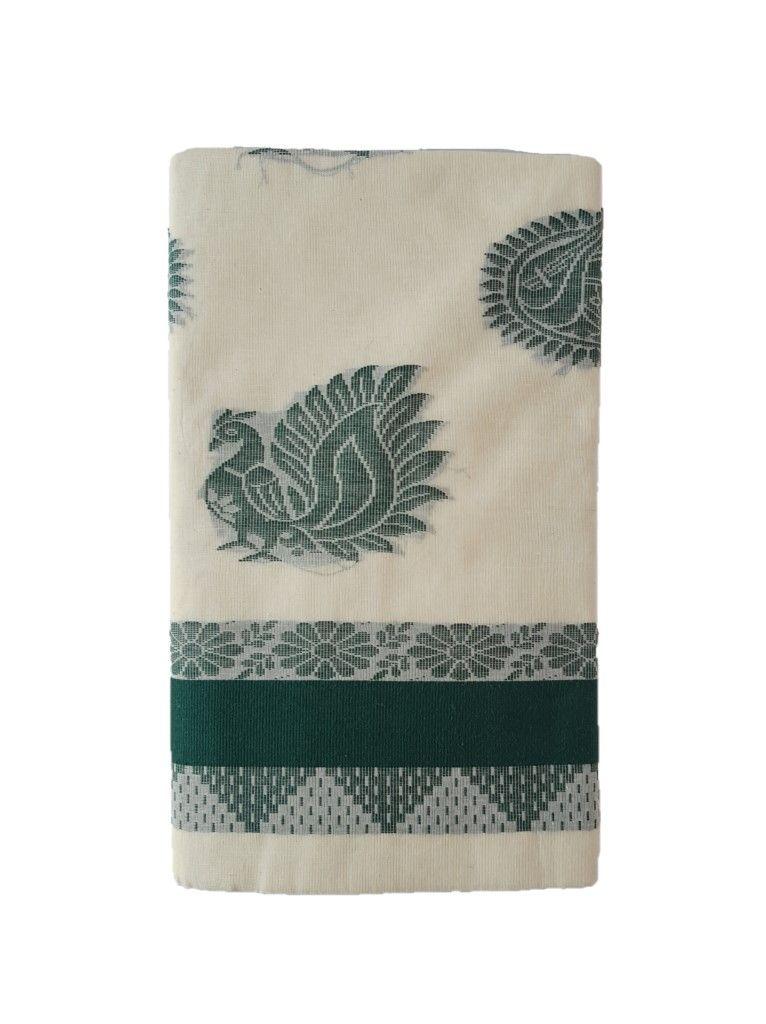 Kerala Kasavu Cotton Saree with Colour Border Floral Leaf Motifs DarkGreen : Details