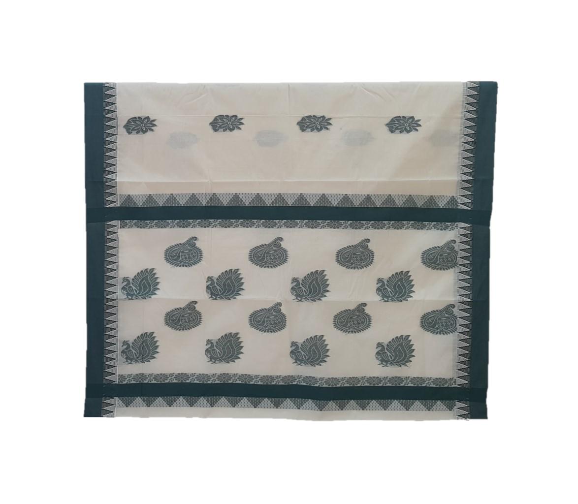 Kerala Kasavu Cotton Saree with Colour Border Floral Leaf Motifs DarkGreen : Picture