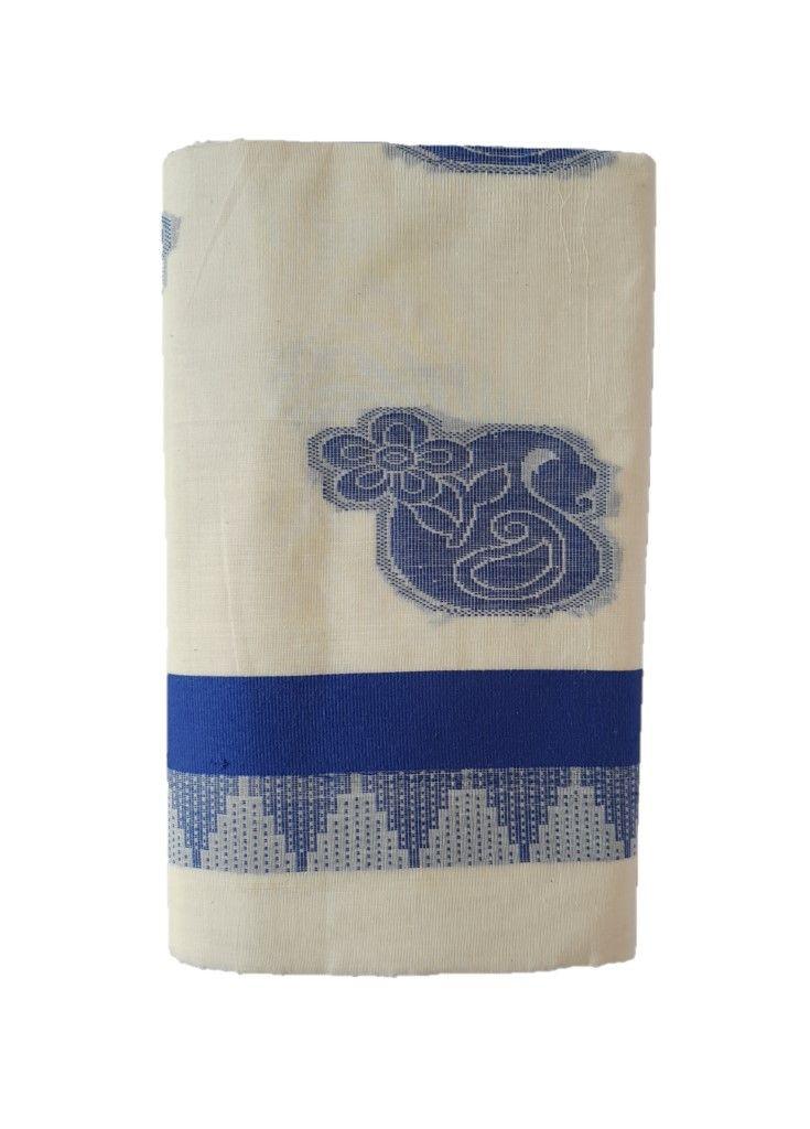Kerala Kasavu Cotton Saree with Colour Border Leaf Motifs RoyalBlue : Details