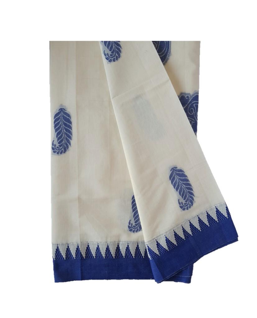 Kerala Kasavu Cotton Saree with Colour Border Leaf Motifs RoyalBlue : Picture
