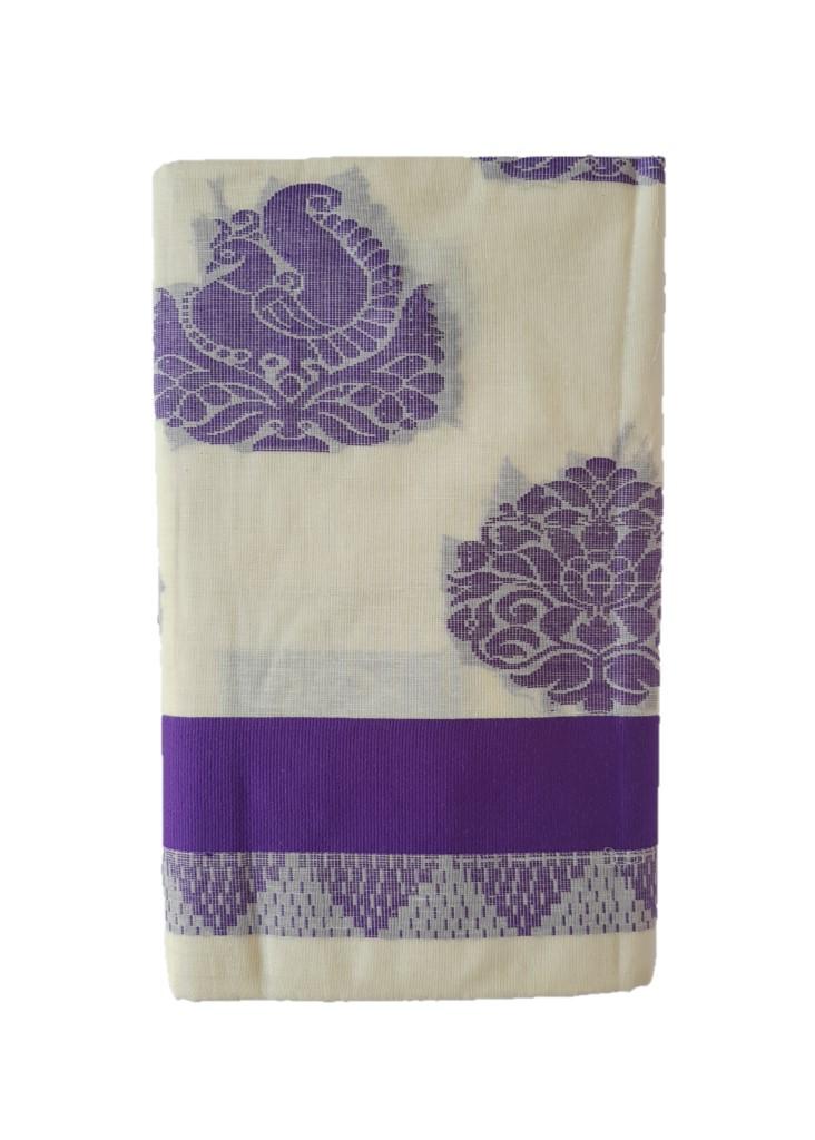 Kerala Kasavu Cotton Saree with Colour Border Leaf Motifs Violet : Picture