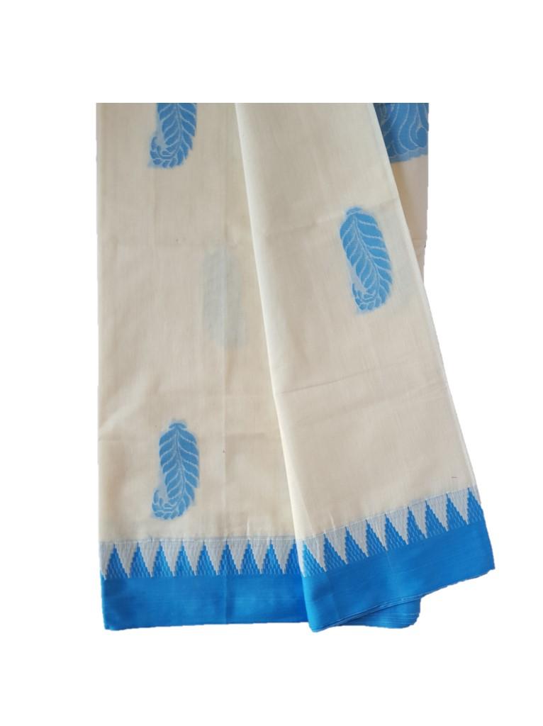 Kerala Kasavu Cotton Saree with Colour Border Leaf Motifs LightBlue : Picture