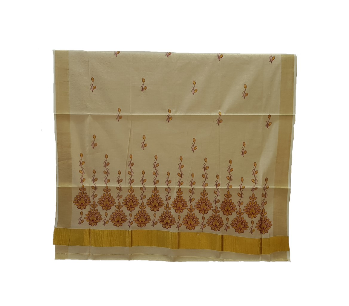 Kerala Kasavu Tissue Saree with Thread Embroidery  Floral Vines Offwhite Gold Red : Picture