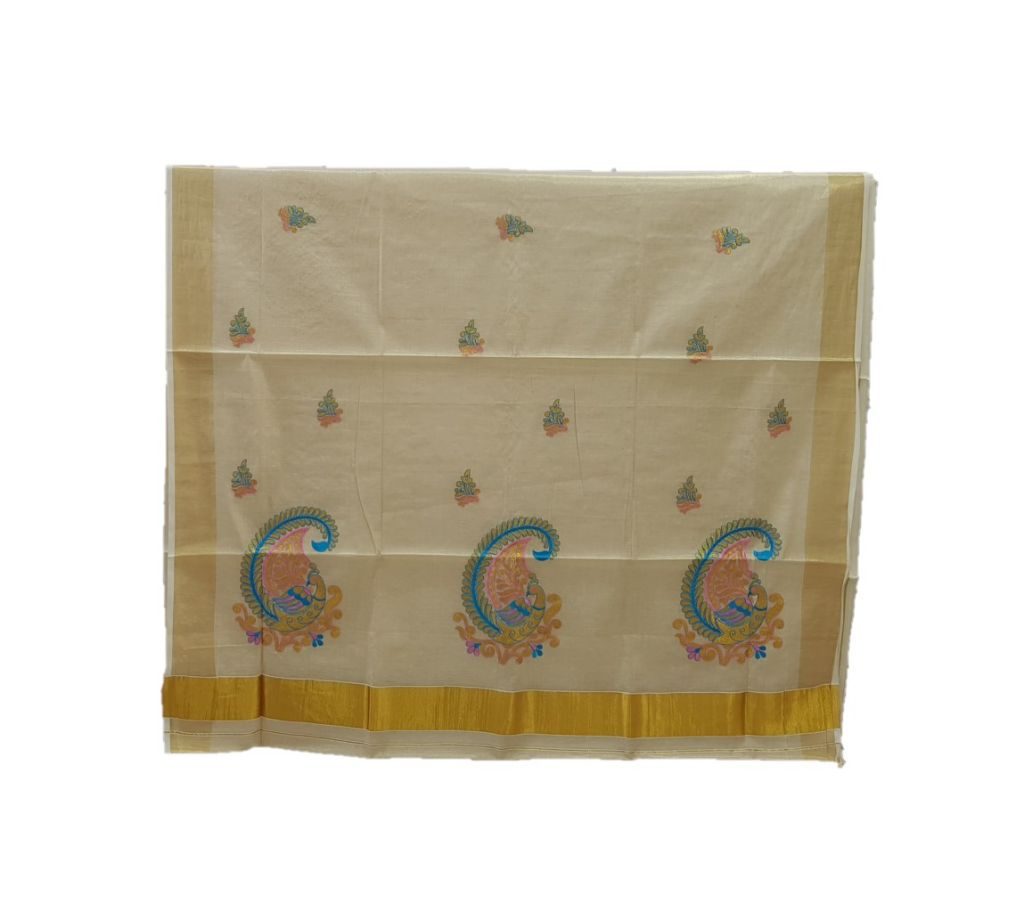 Kerala Kasavu Tissue Saree with Peacock Thread Embroidery Offwhite Gold LightBluePink : Picture