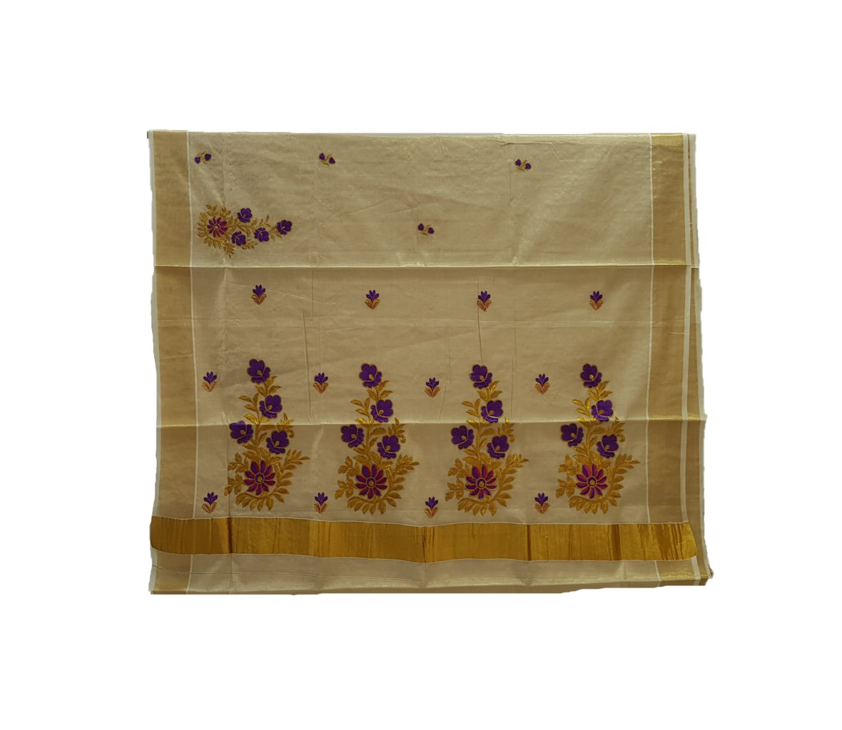 Kerala Kasavu Tissue Saree with Floral Thread Embroidery Offwhite Gold VioletPink : Picture
