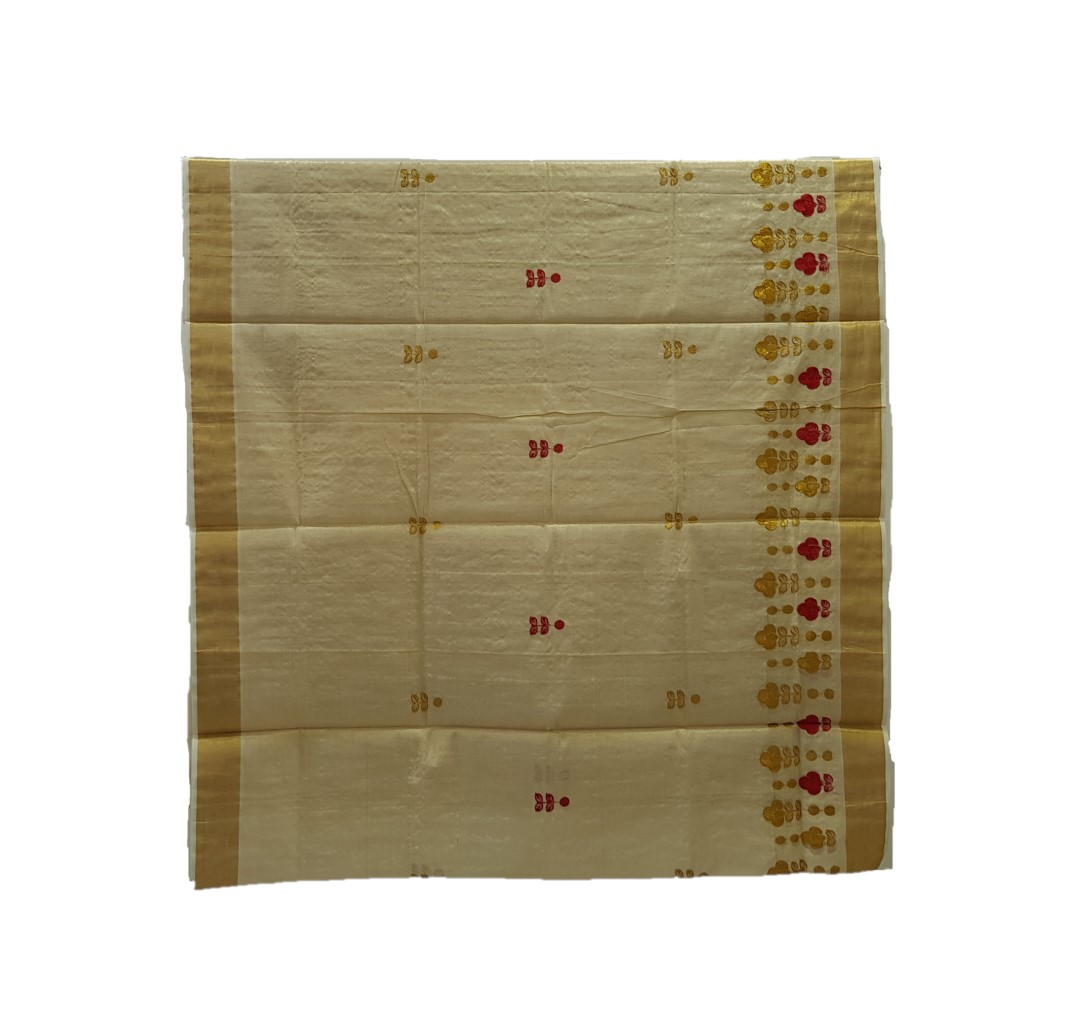 Kerala Kasavu Tissue Saree with Floral Thread Embroidery Offwhite Gold Red : Picture