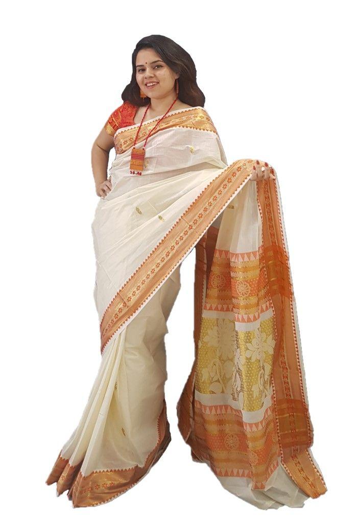 Kerala Kasavu Cotton Saree with Coloured Floral Border Orange : Picture