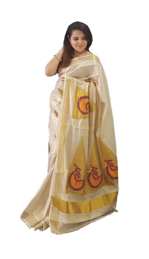 Kerala Kasavu Tissue Saree with Temple Border and Peacock Thread Embroidery Offwhite Gold PurplePinkYellow : Picture