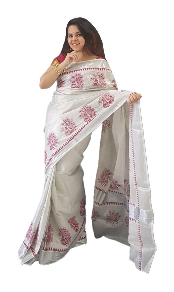 Kerala Kasavu Silver Tissue Cotton Saree with Peacock Open Feather Prints along Temple Border Silver Red  : Details