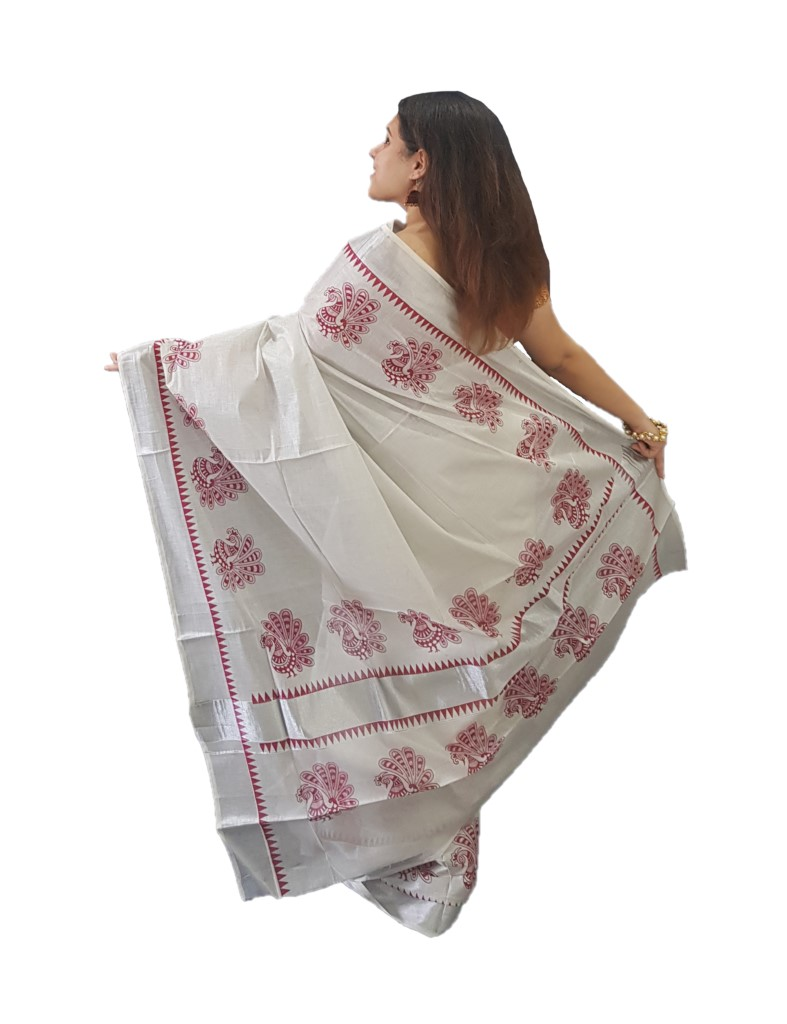 Kerala Kasavu Silver Tissue Cotton Saree with Peacock Open Feather Prints along Temple Border Silver Red  : Picture