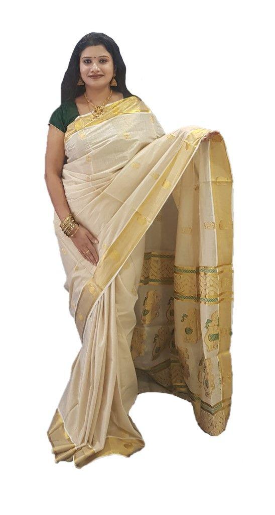 Kerala Kasavu Tissue Saree with Satin Peacock Motifs Offwhite Gold RamaGreen : Details