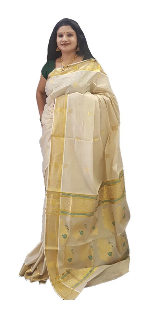 Kerala Kasavu Tissue Saree with Satin Peacock Motifs Offwhite Gold RamaGreen : Picture