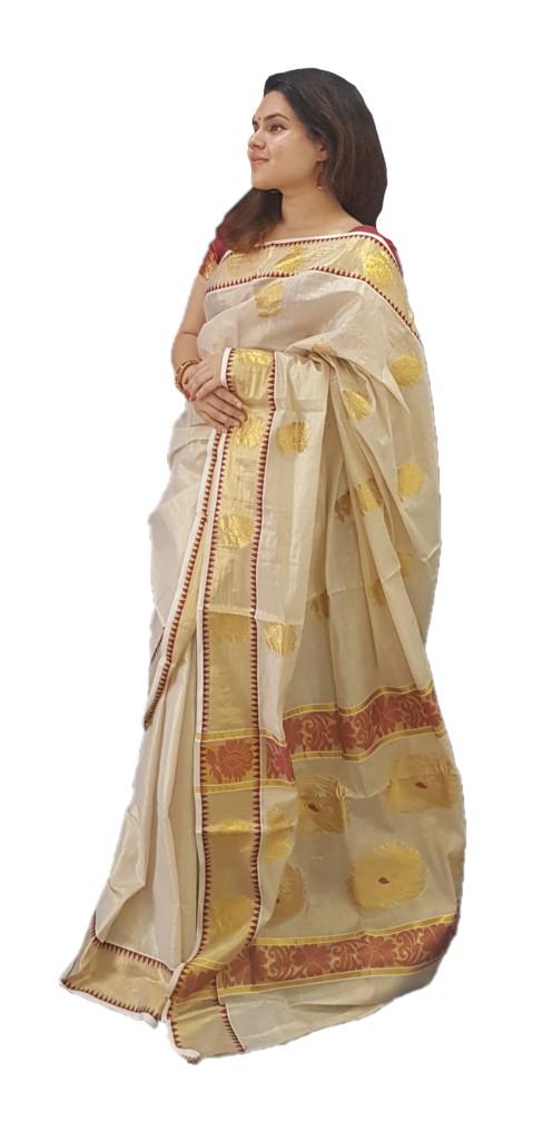 Kerala Kasavu Tissue Cotton Jari Work Saree Offwhite Gold Maroon : Picture