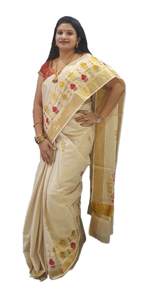 Kerala Kasavu Tissue Saree with Floral Thread Embroidery Offwhite Gold Red : Details