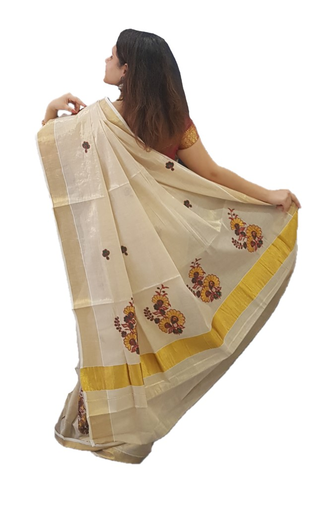 Kerala Kasavu Tissue Saree with Floral Thread Embroidery Offwhite Gold GreenRed : Picture